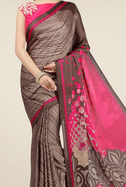 Jashn Brown & Pink Printed Saree