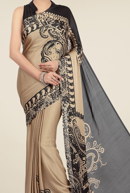Jashn Beige & Black Printed Saree