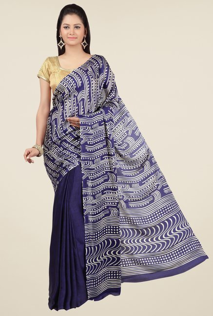 Jashn Navy Printed Saree