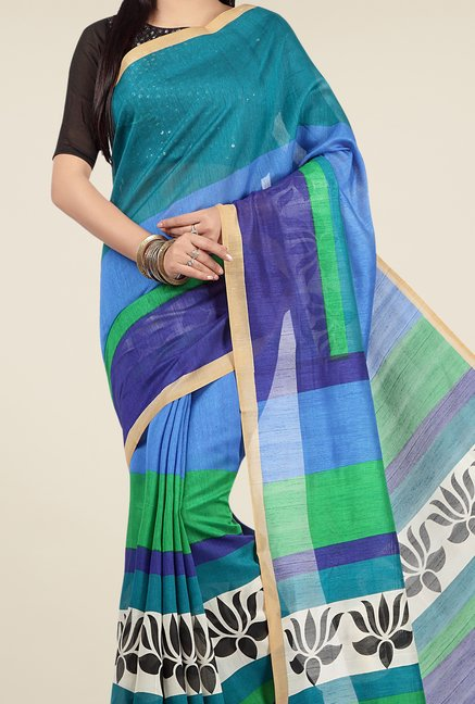 Jashn Blue Printed Saree