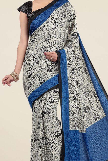 Jashn Beige & Blue Printed Saree