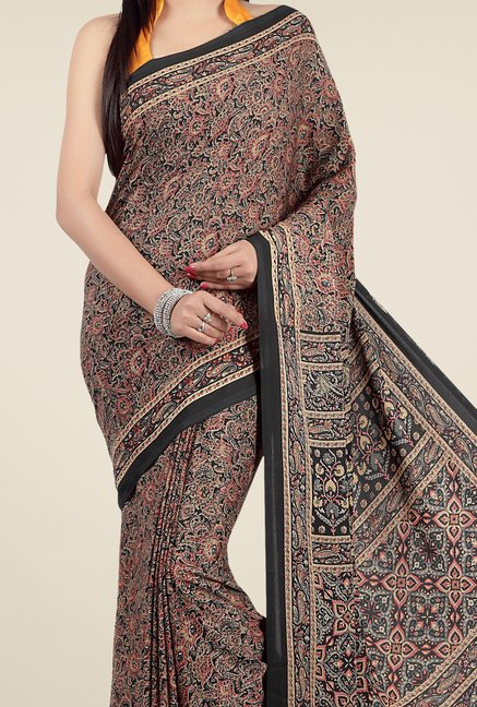 Jashn Black & Brown Floral Print Saree