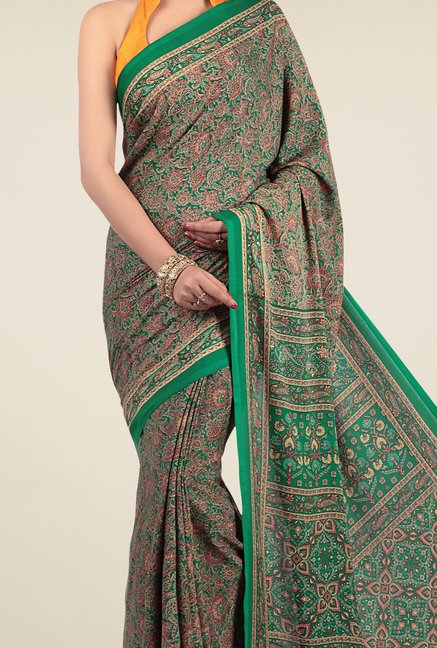 Jashn Green & Brown Floral Print Saree
