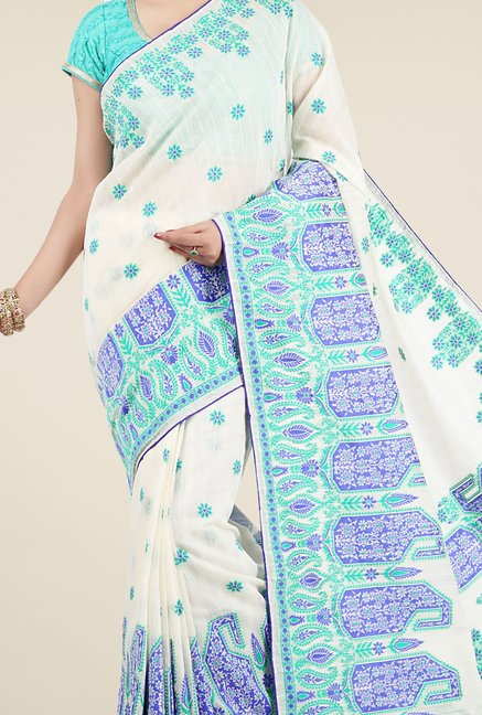 Jashn Off White Paisley Print Saree