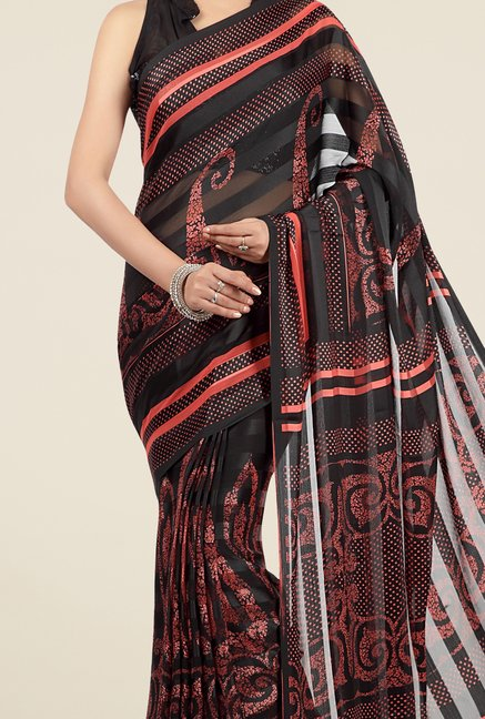 Jashn Black & Red Paisley Print Saree
