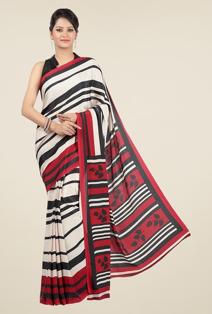 Jashn White & Red Striped Saree
