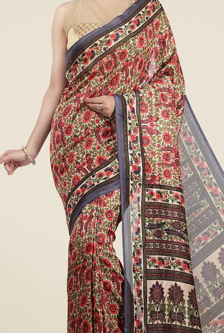 Jashn Multicolor Floral Print Saree