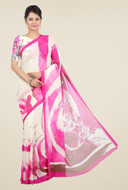 Jashn White & Pink Printed Georgette Saree