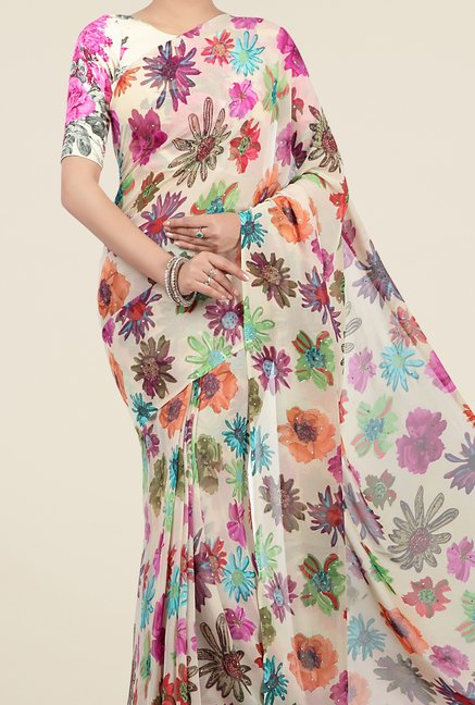 Jashn Multicolor Floral Print Georgette Saree