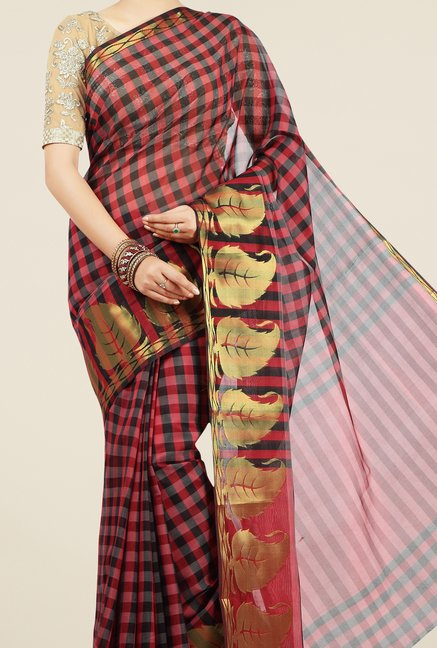 Jashn Red & Black Checks Saree