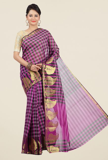 Jashn Purple & Black Checks Saree