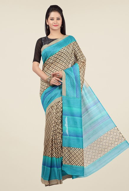 Jashn Beige and Turquoise Printed Saree