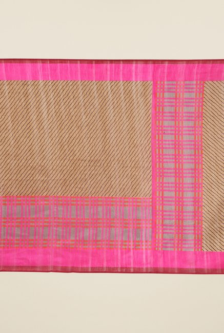 Jashn Brown and Pink Striped Saree