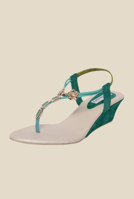 Ethnoware Green & Golden Sling Back Wedges