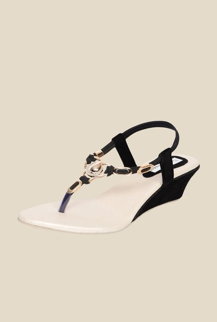Ethnoware Black & Golden Sling Back Wedges