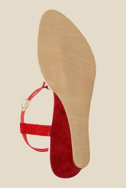 Ethnoware Red & Golden Sling Back Wedges