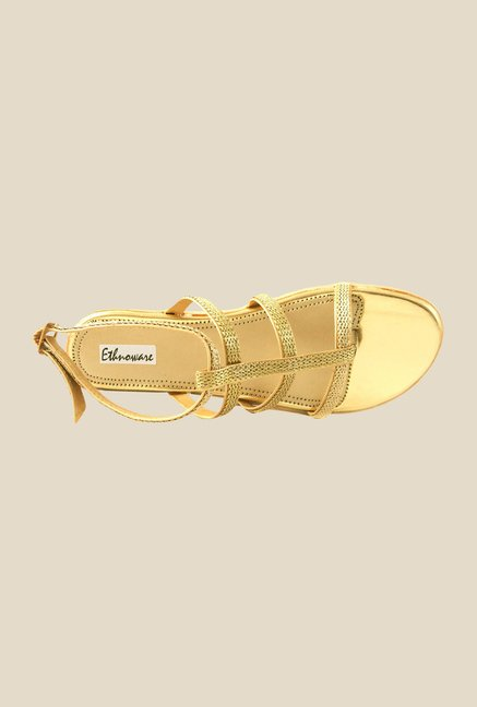 Ethnoware Golden Back Strap Sandals