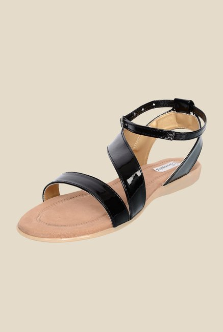 Ethnoware Black Ankle Strap Sandals