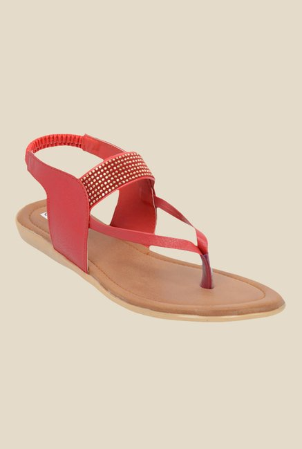 Ethnoware Red Sling Back Sandals