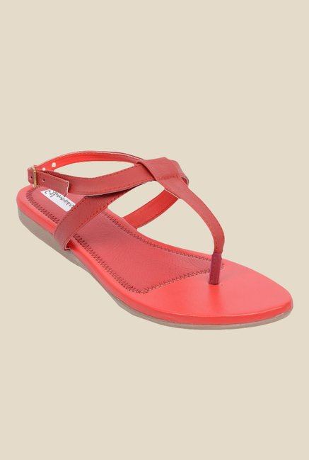 Ethnoware Red Back Strap Sandals