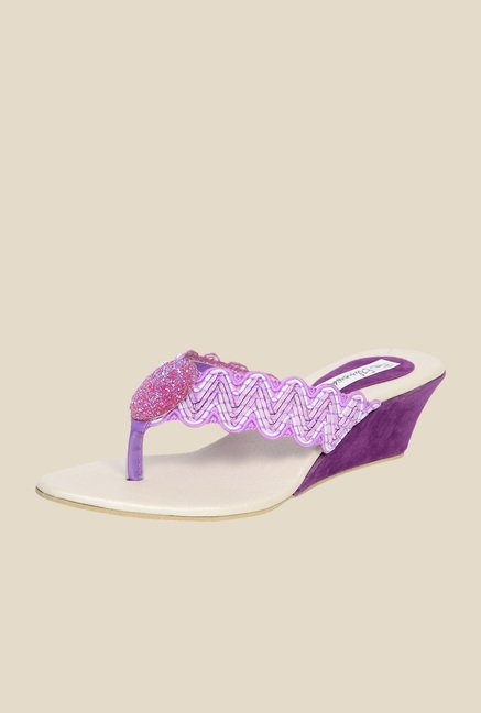 Ethnoware Purple Wedge Heeled Thong Sandals