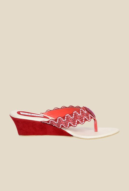 Ethnoware Red Wedge Heeled Thong Sandals