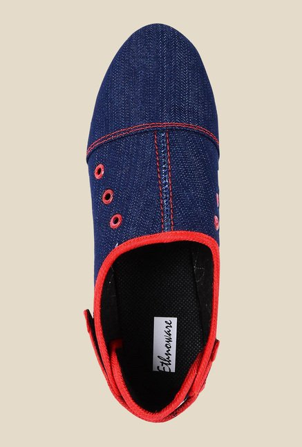 Ethnoware Denim Blue & Red Casual Shoes