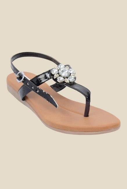Ethnoware Black Back Strap Sandals