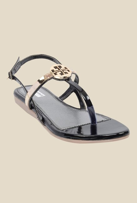 Ethnoware Black & Golden Back Strap Sandals