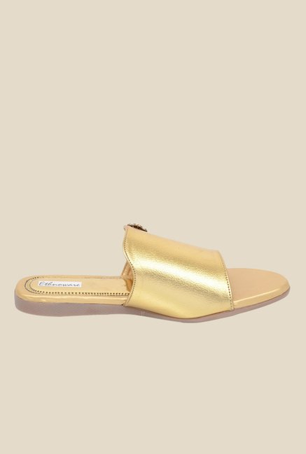 Ethnoware Golden Casual Sandals