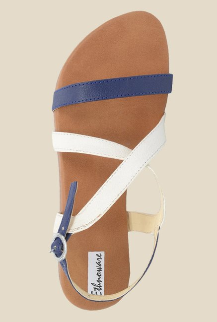 Ethnoware Navy & White Back Strap Sandals