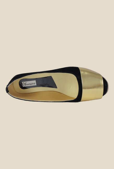 Ethnoware Black & Golden Ballerinas