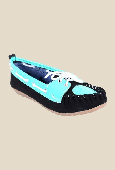 Ethnoware Black & Turquoise Boat Shoes
