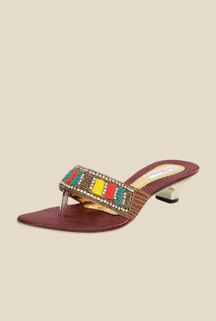 Ethnoware Burgundy Thong Sandals