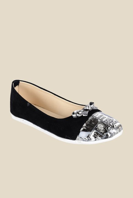 Ethnoware Black & Grey Ballerinas