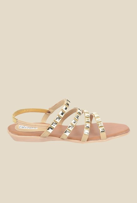 Ethnoware Golden Sling Back Sandals