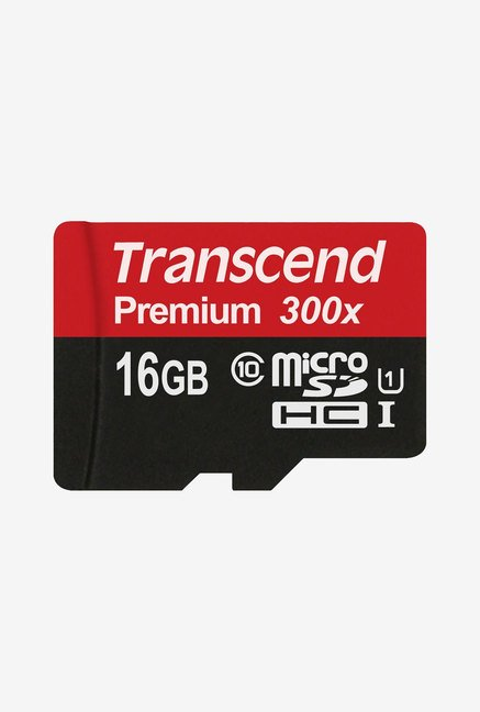 Transcend 16GB Class 10 Micro SDHC Memory Card (Red/Black)