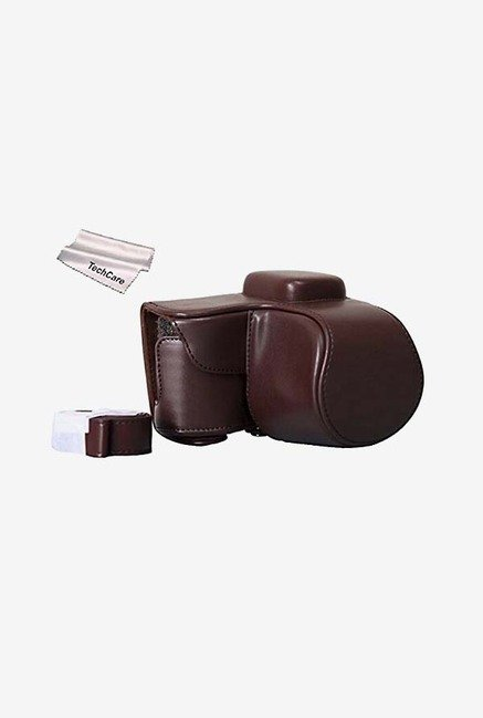 TechCare Protective Leather Camera Case Bag (Dark Brown)