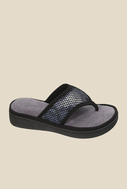 Dearfoams Active Black Thong Sandals