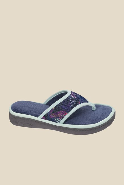 Dearfoams Active Turquoise & Navy Thong Sandals