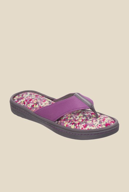 Dearfoams Active Purple Thong Sandals
