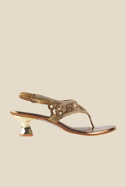 Metro Antique Gold Sling Back Sandals