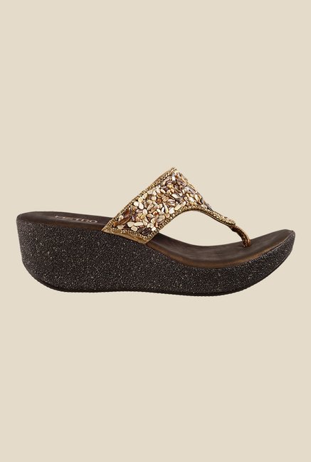 Metro Brown & Golden Wedge Heeled Thong Sandals