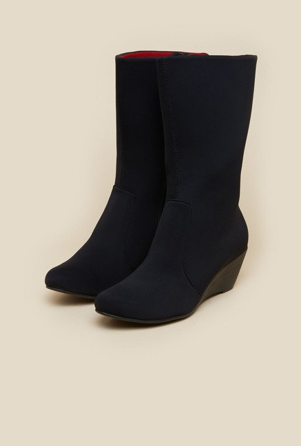 Mochi Black Wedge Boots