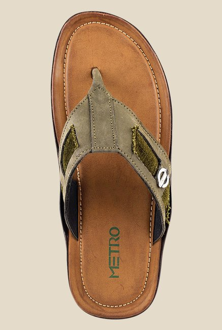 Metro Khaki & Green Thong Sandals