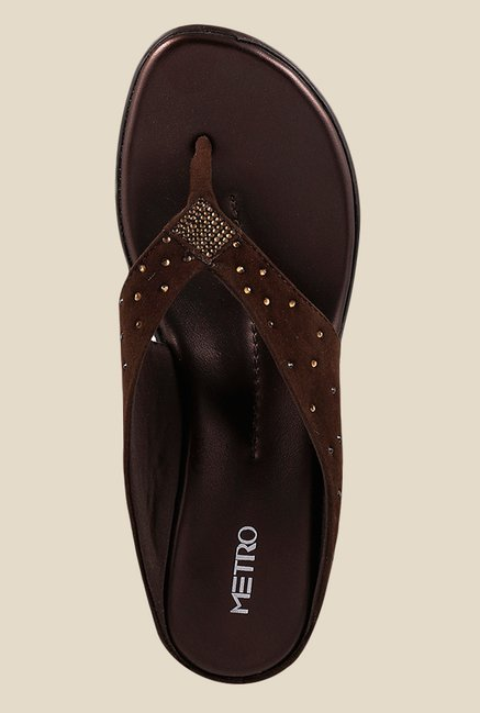 Metro Brown Wedge Heeled Thong Sandals