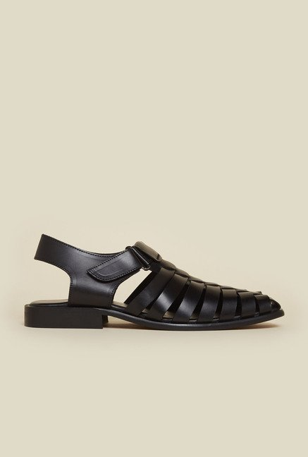 Metro Black Fisherman Sandals