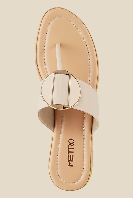 Metro Beige & Golden T-Strap Wedges