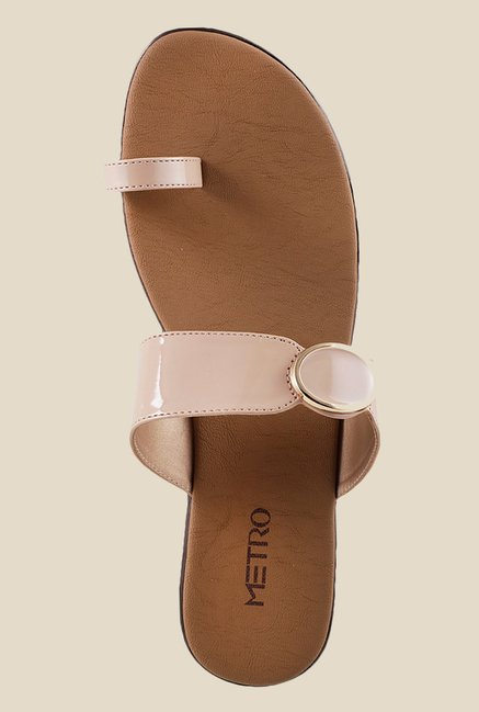 Metro Beige Toe Ring Wedges