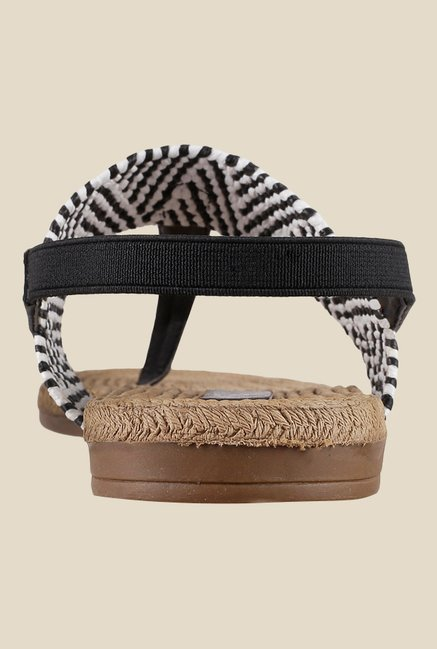 Metro Black & White Sling Back Sandals